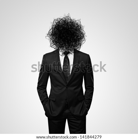man with the mess instead head - stock photo