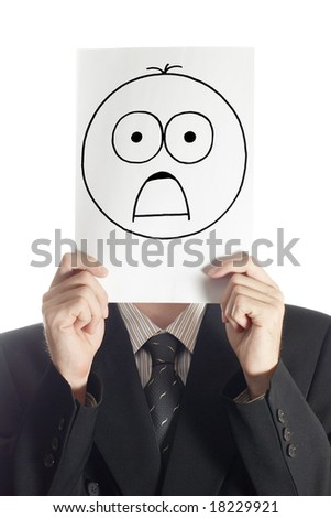 Man with the painted shocked smile on the sheet of paper over his face isolated on white