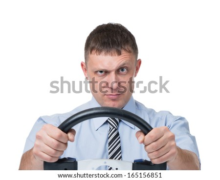 Man with the wheel on white background - stock photo