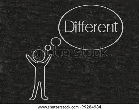 man with think bubble different written on blackboard background, high resolution