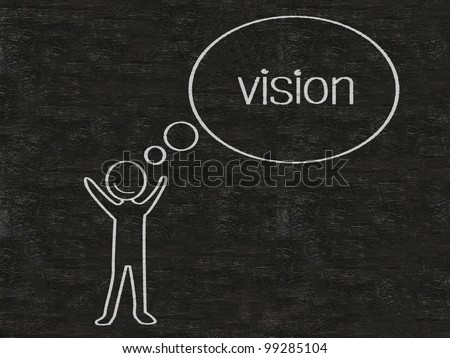 man with think bubble vision written on blackboard background, high resolution
