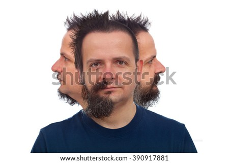 Man with three faces looking in different directions