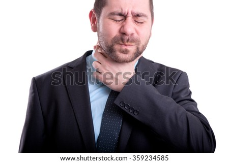 Man with throat pain - stock photo