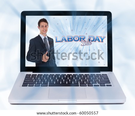 Man with thumbs up and labor day sign, isolated