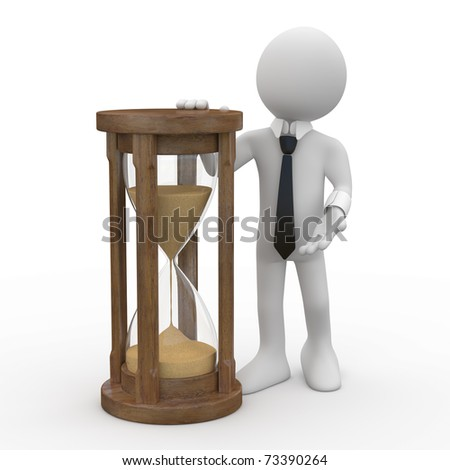 Man with tie and suit, leaning on an hourglass - stock photo