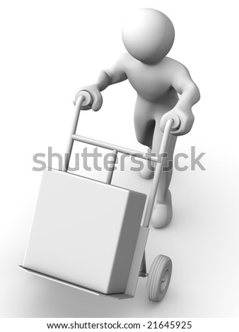 Man with truck.3d - stock photo