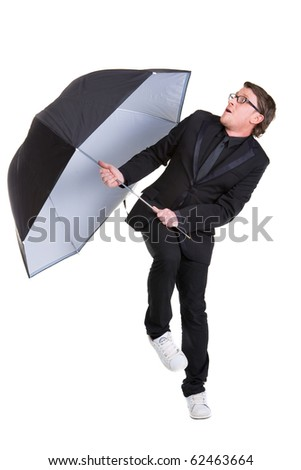 man with umbrella - stock photo