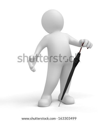 Man with Umbrella (clipping path included)