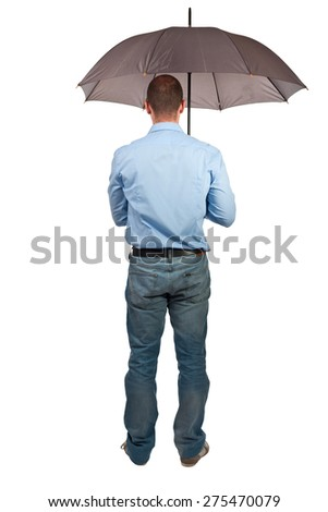 man with umbrella isolated on white background - stock photo