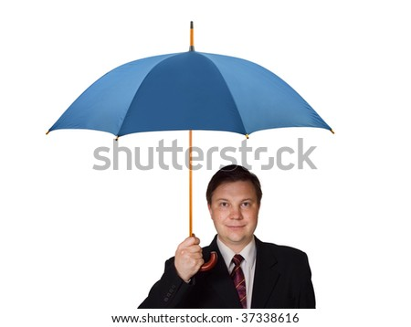 Man with umbrella isolated on white background - stock photo