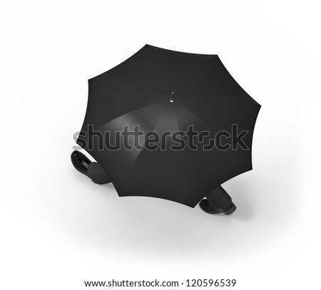 Man with umbrella walking, framed from above, on a white background.. - stock photo