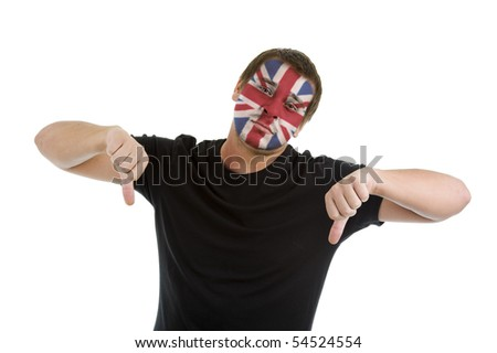 man with union jack flag painted on his face showing two thumbs down, isolated on white background - stock photo