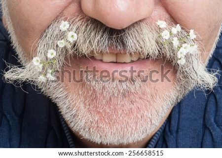 man with unusual mustache - stock photo