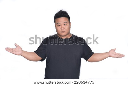 Man with upset expression gesture on white background - stock photo
