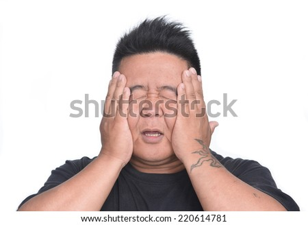 Man with upset expression gesture on white background