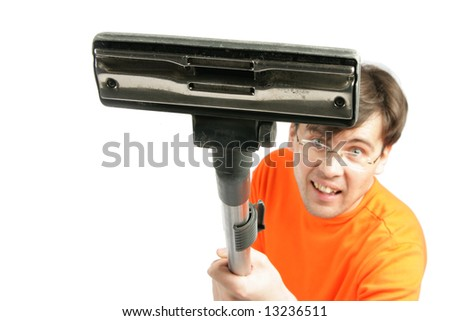 Man with vacuum cleaner closeup isolated over white background. Shallow DOF, focus on the broom! - stock photo