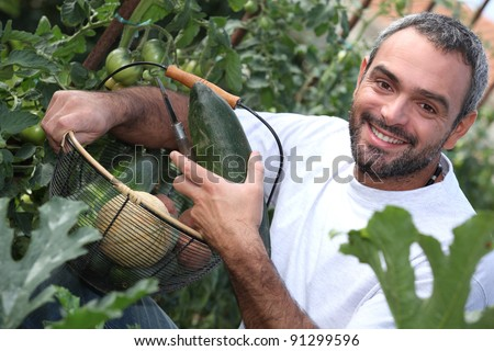 man with vegetable basket - stock photo