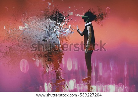 man with virtual reality headset touching particle of himself,illustration painting