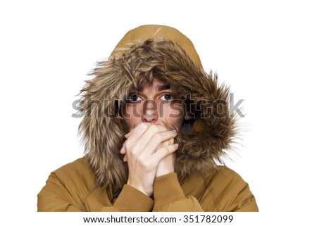 man with warm clothes isolated