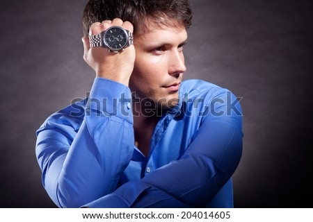 man with watch - stock photo