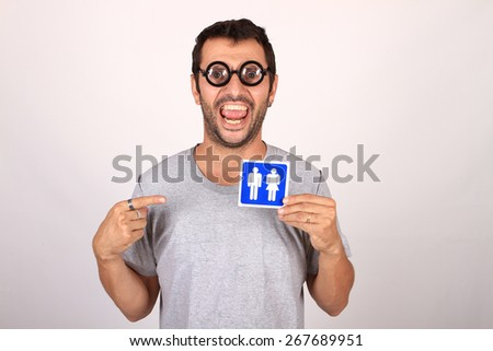 man with wc sign - stock photo