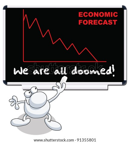Man with we are all doomed economic forecast - stock photo