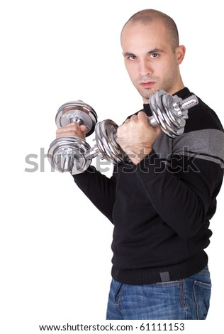 Man with weights - stock photo