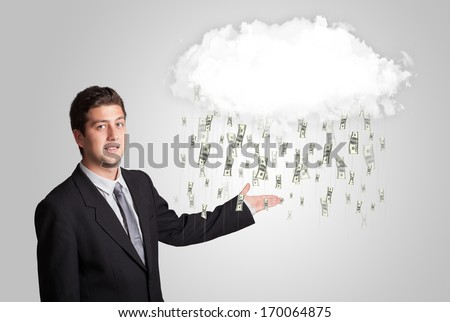 Man with white cloud and money rain concept - stock photo