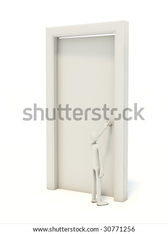 Man with white door isolated on white