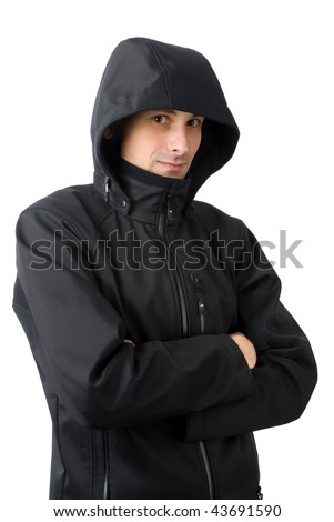 man with winter clothes isolated on white