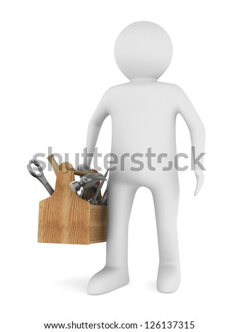 Man with wooden toolbox. Isolated 3D image - stock photo