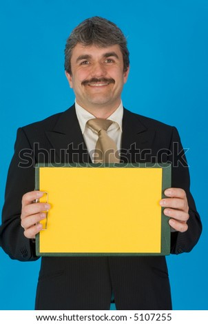 man with yellow paper - stock photo