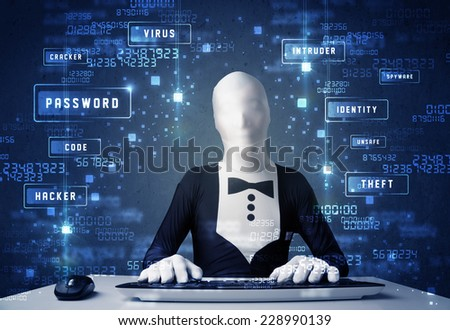 Man without identity programing in technology enviroment with cyber icons and symbols - stock photo