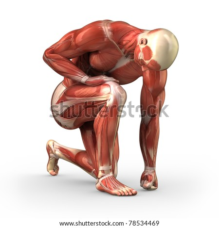 Man without skin kneeling on the ground - stock photo