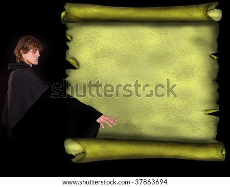 Man wizard with old scroll banner in style grunge.Illustration. - stock photo