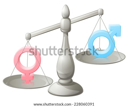 Man woman scales concept with male and female symbols, the female weighing more - stock photo