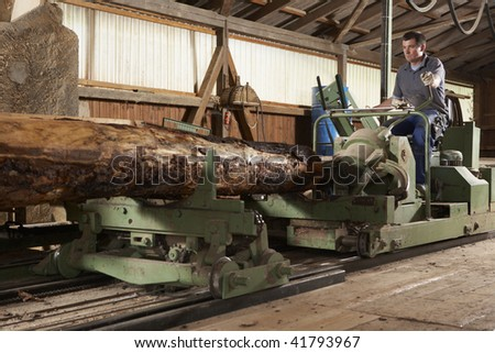 man working at large cutting machine at sawmill