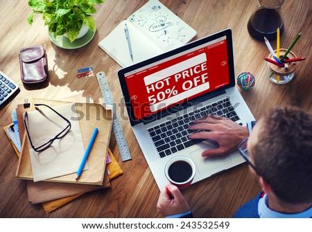 Man Working Computer E-Commerce Retail Promotion Sale Concept - stock photo