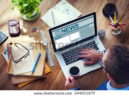 Man Working Computer Internet Journalism Global Media Concept - stock photo