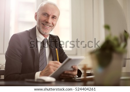 Man working happily