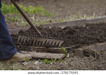 man working in a garden rake , a bed in the image aligns toe boots and rake - stock photo