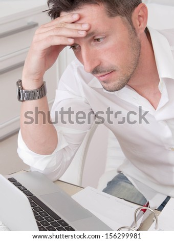 Man working in the office.  - stock photo