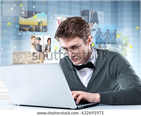 Man working on laptop.
