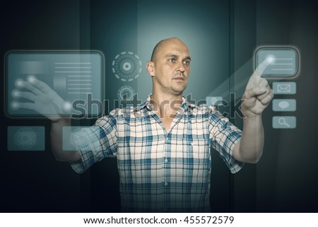 man working on tuch screen, abstract background