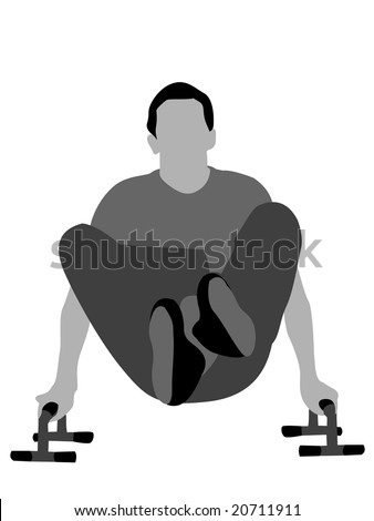 man working out with legs crossed on isolated background - stock photo