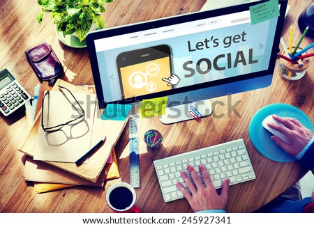 Man Working with Computer Let's Get Social - stock photo