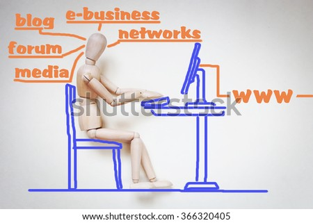 Man working with his computer in the internet. Abstract image with a wooden puppet - stock photo