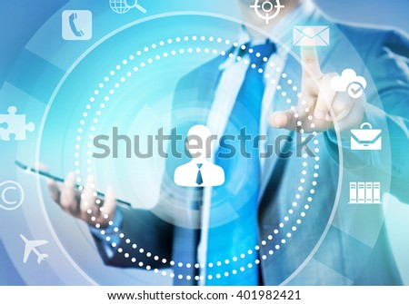 Man working with virtual panel - stock photo