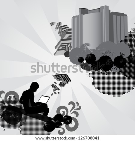 Man works on laptop computer and creates something new. Concept illustration. Raster version of the loaded vector. - stock photo