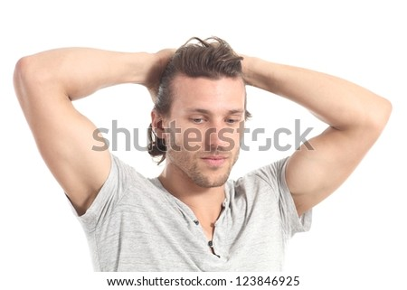 Man worried  with hands in his head on a white isolated background - stock photo